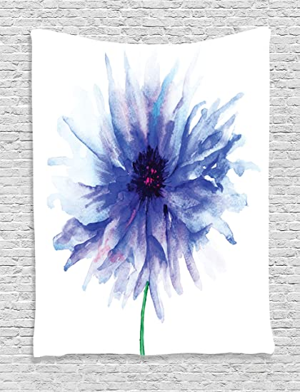 Flower Of Life Tapestry Watercolor Decor By Ambesonne Faded Single Large Petite Cornflower On Plain