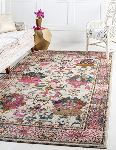 Unique Loom Aurora Collection Floral Vintage Over-Dyed Beige Area Rug 5 0 x 8 0