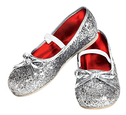 eaa4b32826e Image Unavailable. Image not available for. Color  Rubie s Costume Silver  Glitter Child Flat Shoes ...