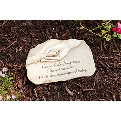 "Evergreen Garden Dog Paw in Hand Devotion Painted Polystone Stepping Stone - 12""W x 0.5""D x 7.5""H: Pet Supplies"