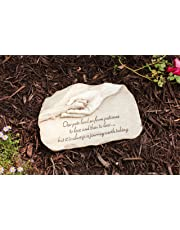 """Evergreen Garden Dog Paw in Hand Devotion Painted Polystone Stepping Stone - 12""""W x 0.5""""D x 7.5""""H"""