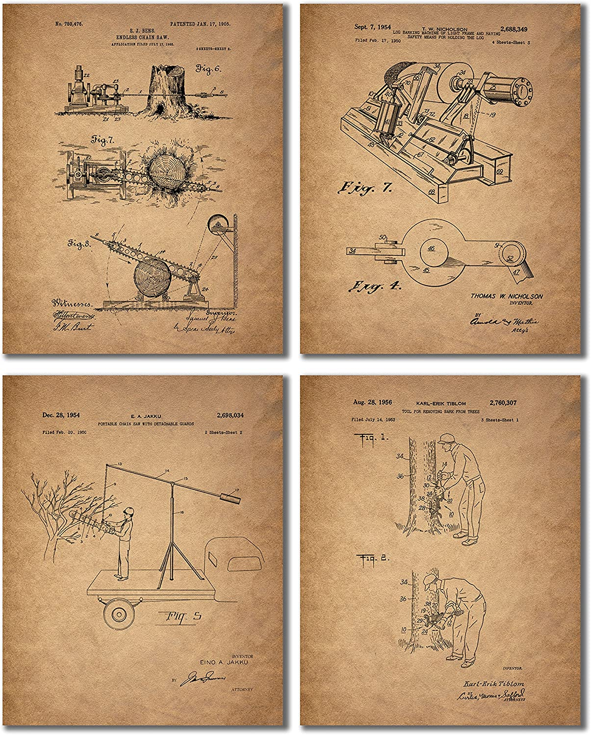 Lumberjack Patent Print Photos - Set of 4 (8 inches x 10 inches) Vintage Chainsaw Wall Art Decor