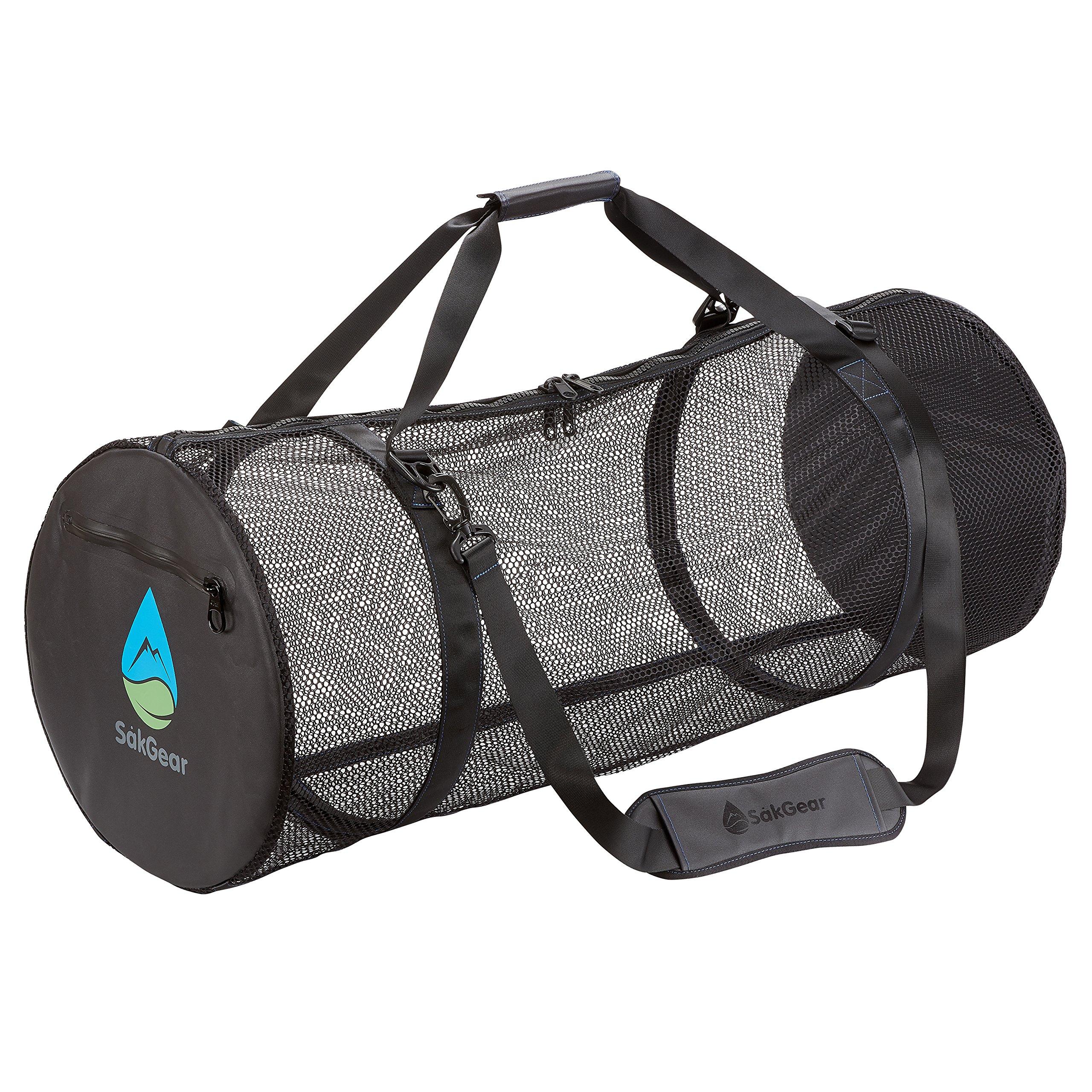 Såk Gear SCUBASåk | Premium Collapsible Mesh Duffle Bag for SCUBA and Dive Equipment | Features Exterior Waterproof Pocket & Adjustable Shoulder Strap | by