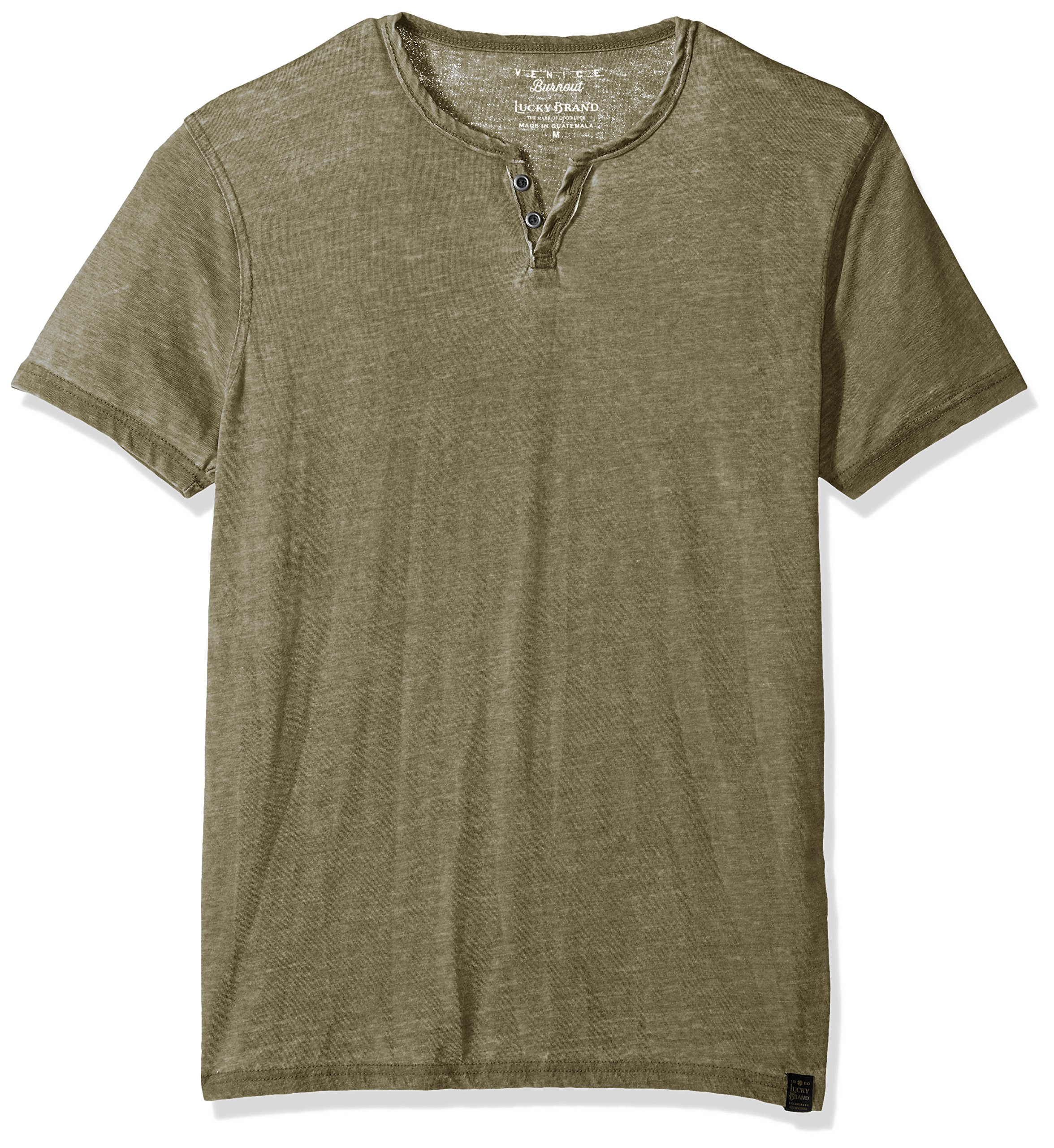 Lucky Brand Men's Burnout Button Notch Neck Shirt, Dark Olive, XXL