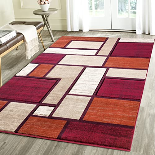 Rug Deal Plus Contemporary Squared Geometric Emerald Collection Carved Area Rug 5' x 7'