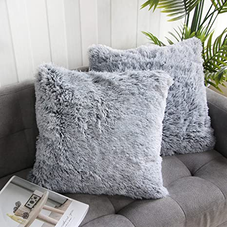 faux rabbit fur in grey black white throw pillow for sofa chair or bed handmade