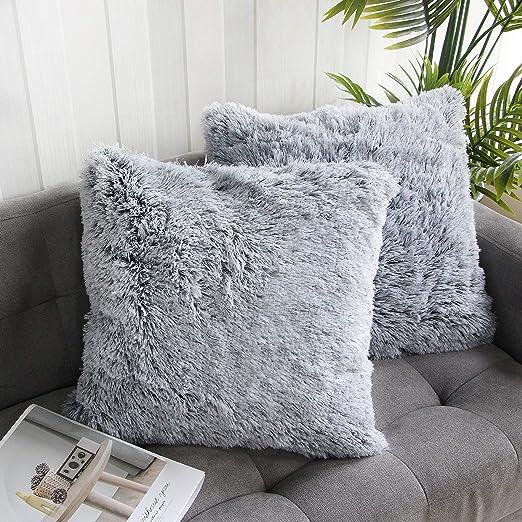 Throw Pillow Cover Cushion Case Faux Fur Fluffy Plush Shaggy Sofa Bed Home AL