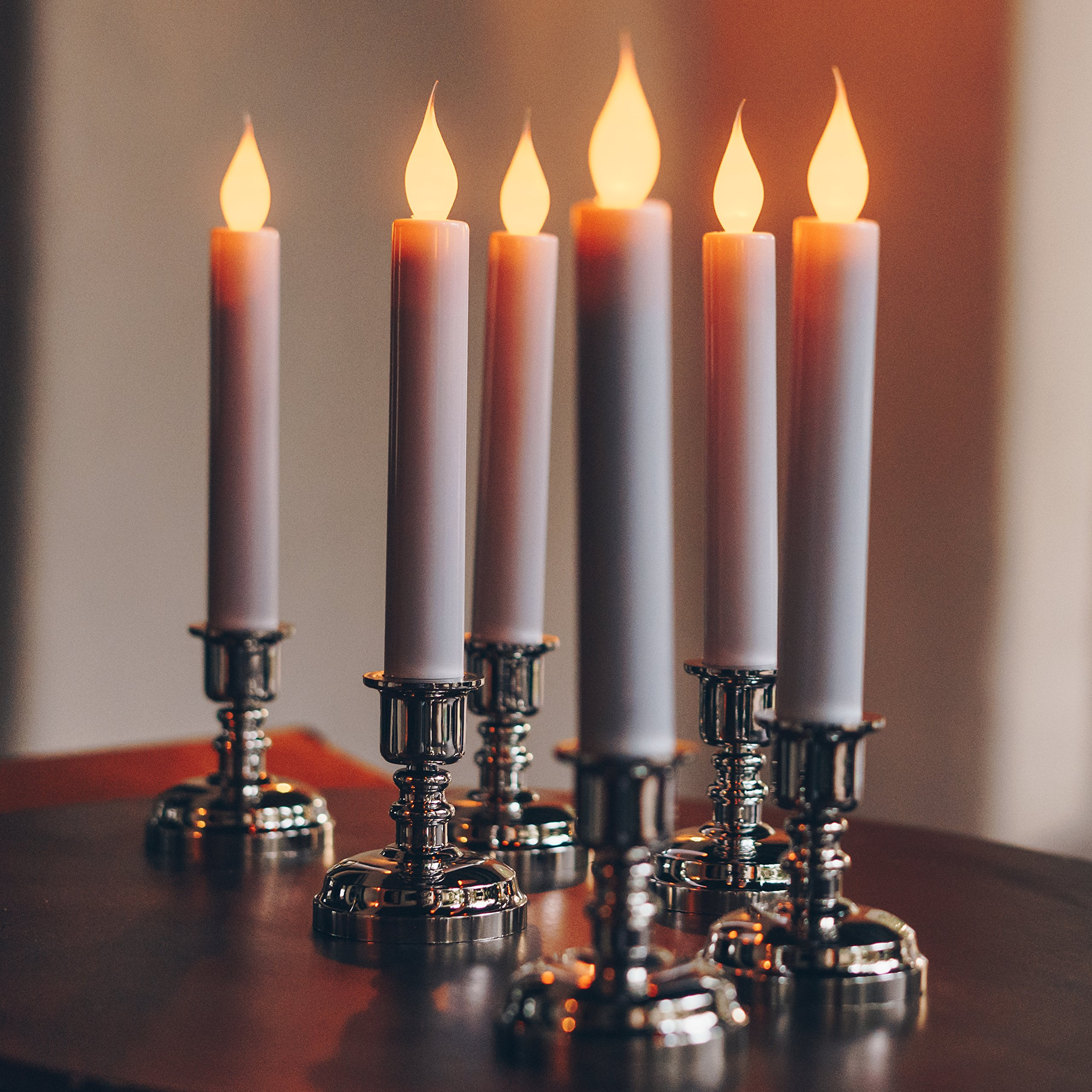 Set of 10 Flameless White Taper Window Candles with Removable Silver Candleholders with Timer and Remote, Batteries Included by Enchanted Spaces (Image #3)