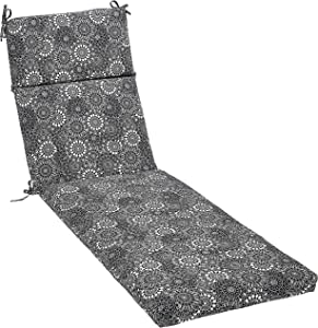 AmazonBasics Outdoor Lounger Patio Cushion - Black Floral