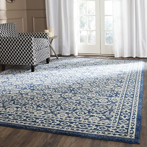 Safavieh Evoke Collection EVK216F Transitional Oriental Royal Blue and Ivory Area Rug 11 x 15