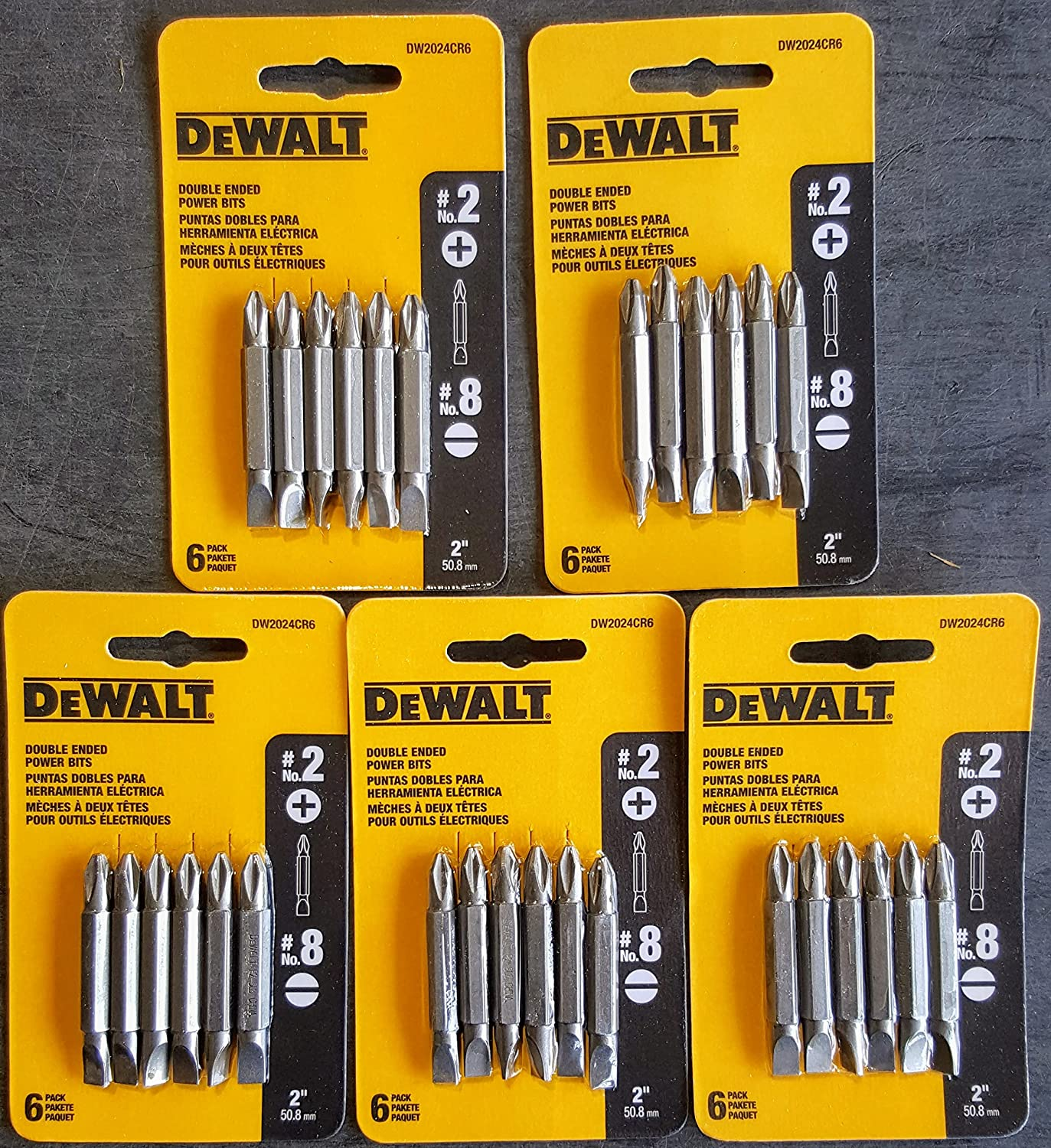 (5 Packs) Dewalt Dw2024Cr6#2 Phillips/#8 Slotted Double Ended Bit - 6Pk. Card