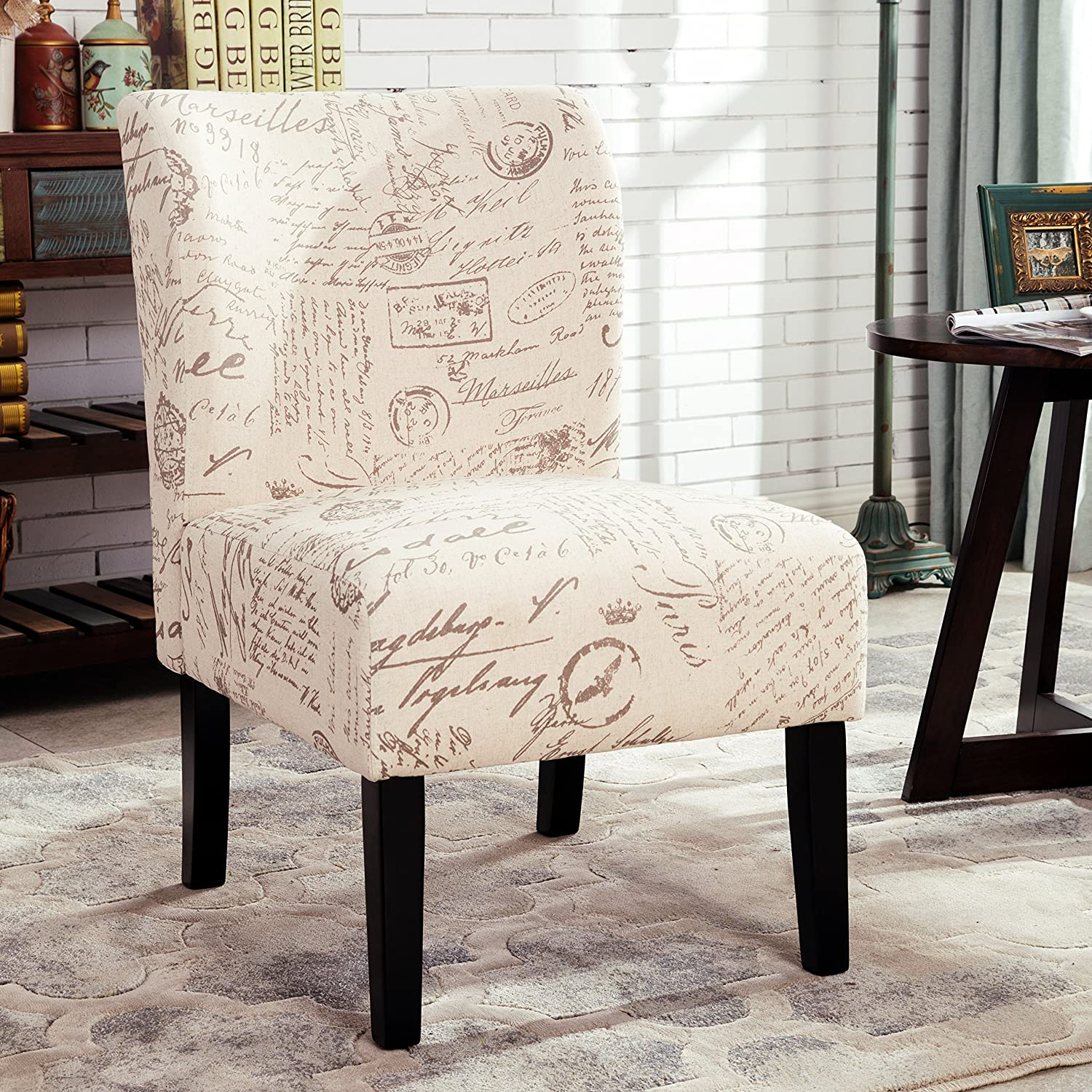 Roundhill Furniture Capa English Letter Print Fabric Armless Contemporary Accent Chair, Script