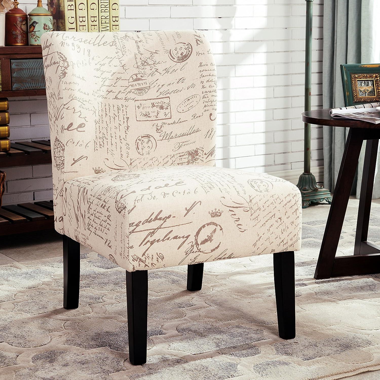Amazon.com: Roundhill Furniture Capa English Letter Print Fabric ...