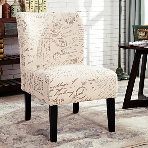 Roundhill Furniture Capa English Letter Print Fabric Armless Contemporary Accent Chair