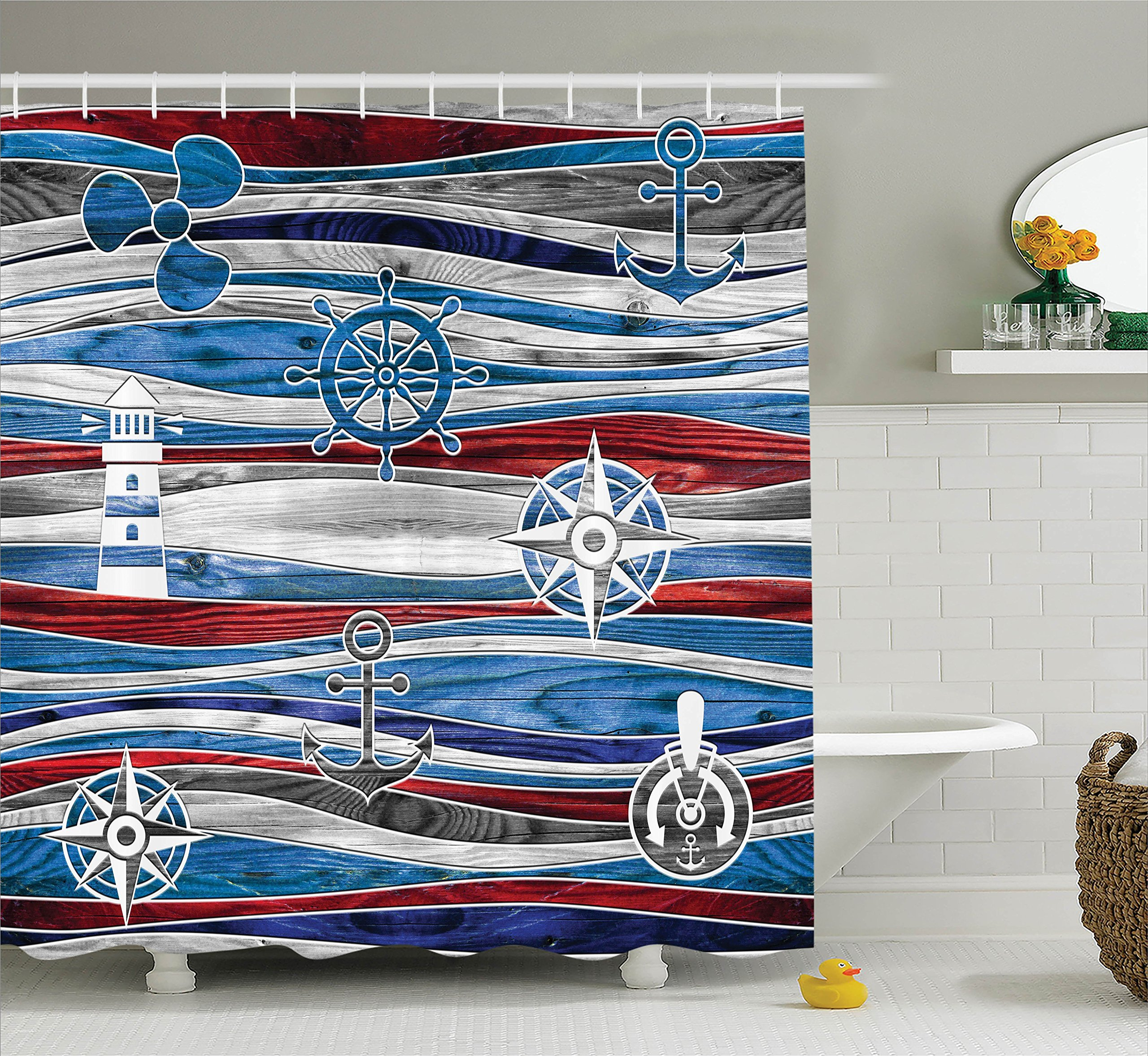 Ambesonne Anchor Decor Collection, Shipping Boat Anchor Lighthouse Steering Wheel Compass Waves Background Image, Polyester Fabric Bathroom Shower Curtain Set with Hooks, Red Navy Blue Grey