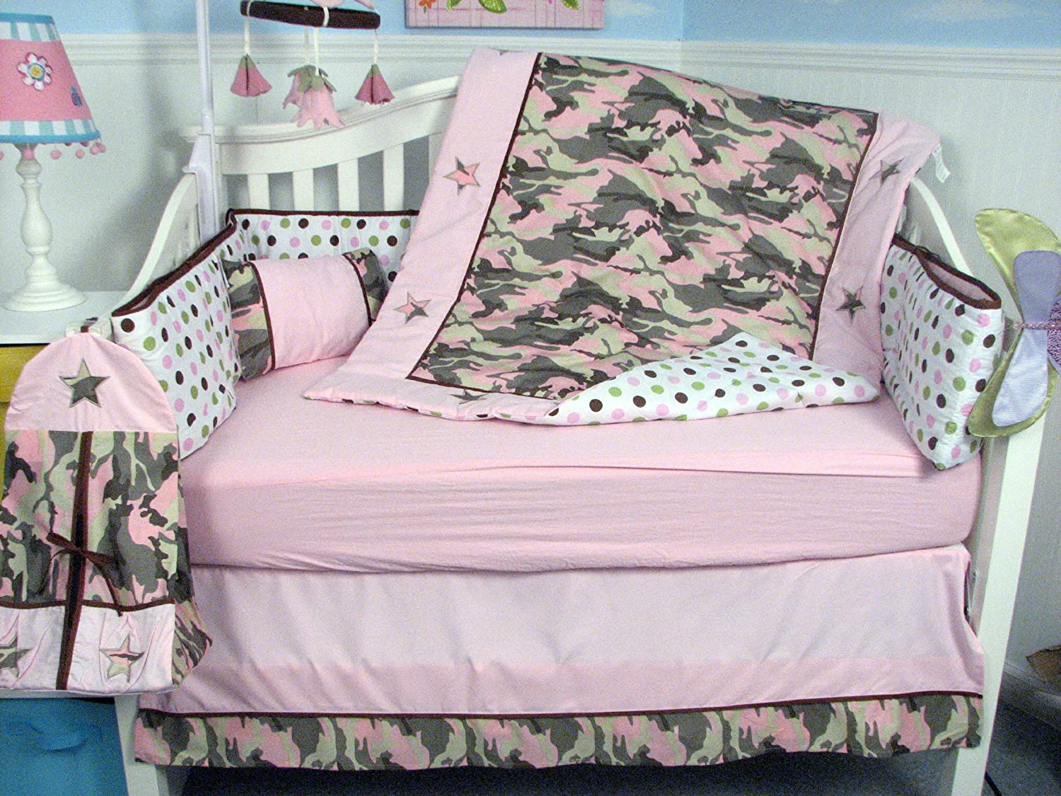 Amazon.com : SOHO Girl Camo Baby Crib Nursery Bedding Set 13 pcs included  Diaper Bag with Changing Pad & Bottle Case : Baby