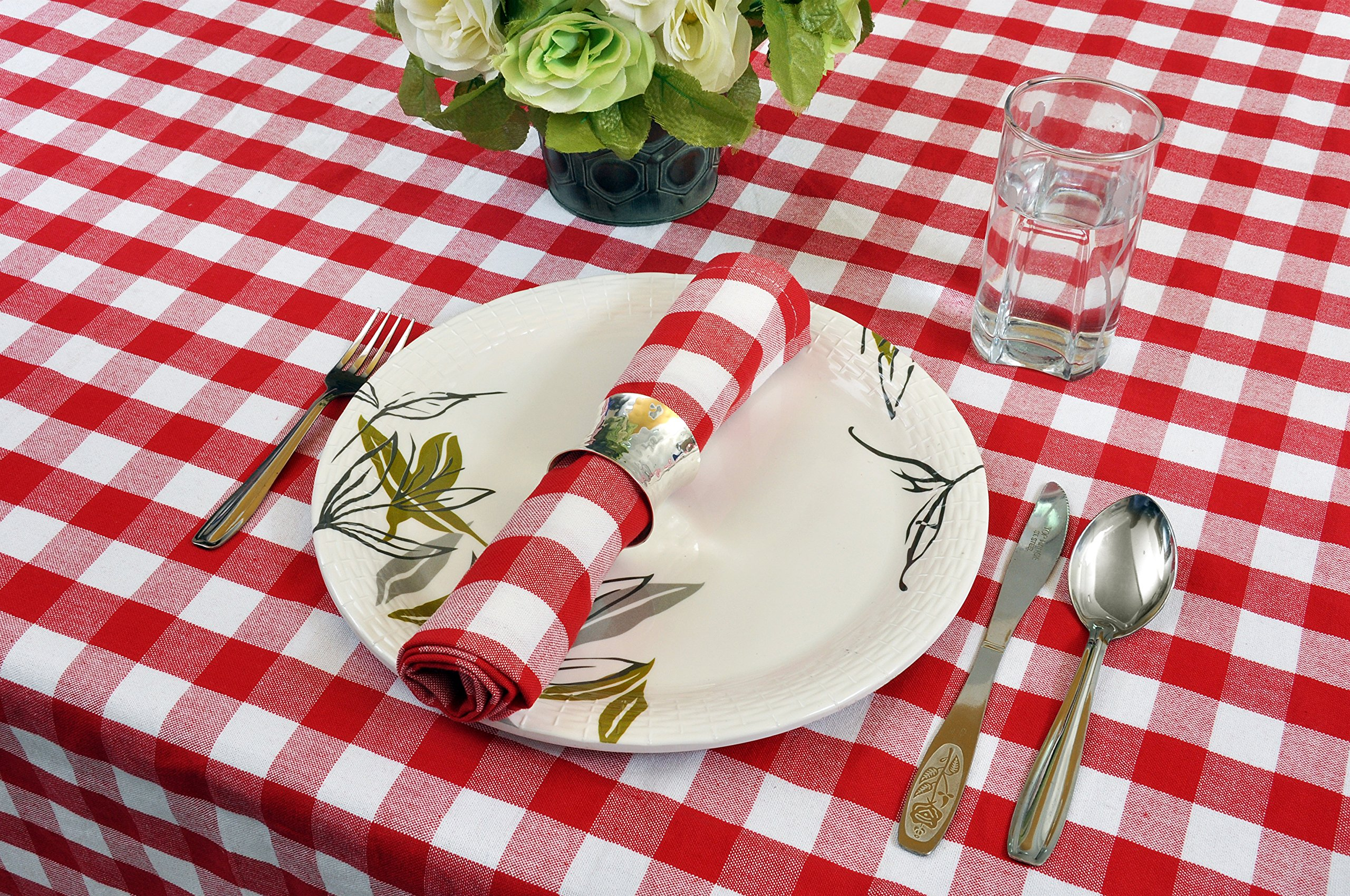 Yourtablecloth 100% Cotton Checkered Buffalo Plaid Tablecloth –for Home, Restaurants, Cafés – Be it for Everyday Dinner Picnic or Occasions like Thanksgiving 60 x 104 Rectangle/Oblong Red and White by Yourtablecloth (Image #2)