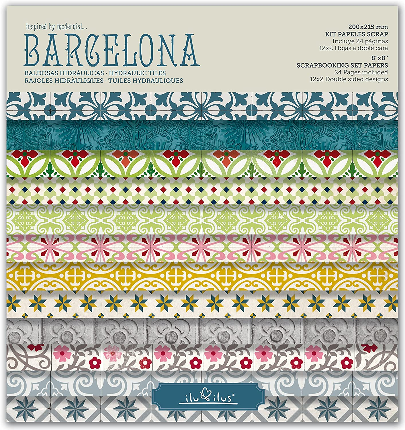 Scrapbook Barcelona - Pad 8-203mm // Kit papeles para scrapbooking: Amazon.es: Hogar