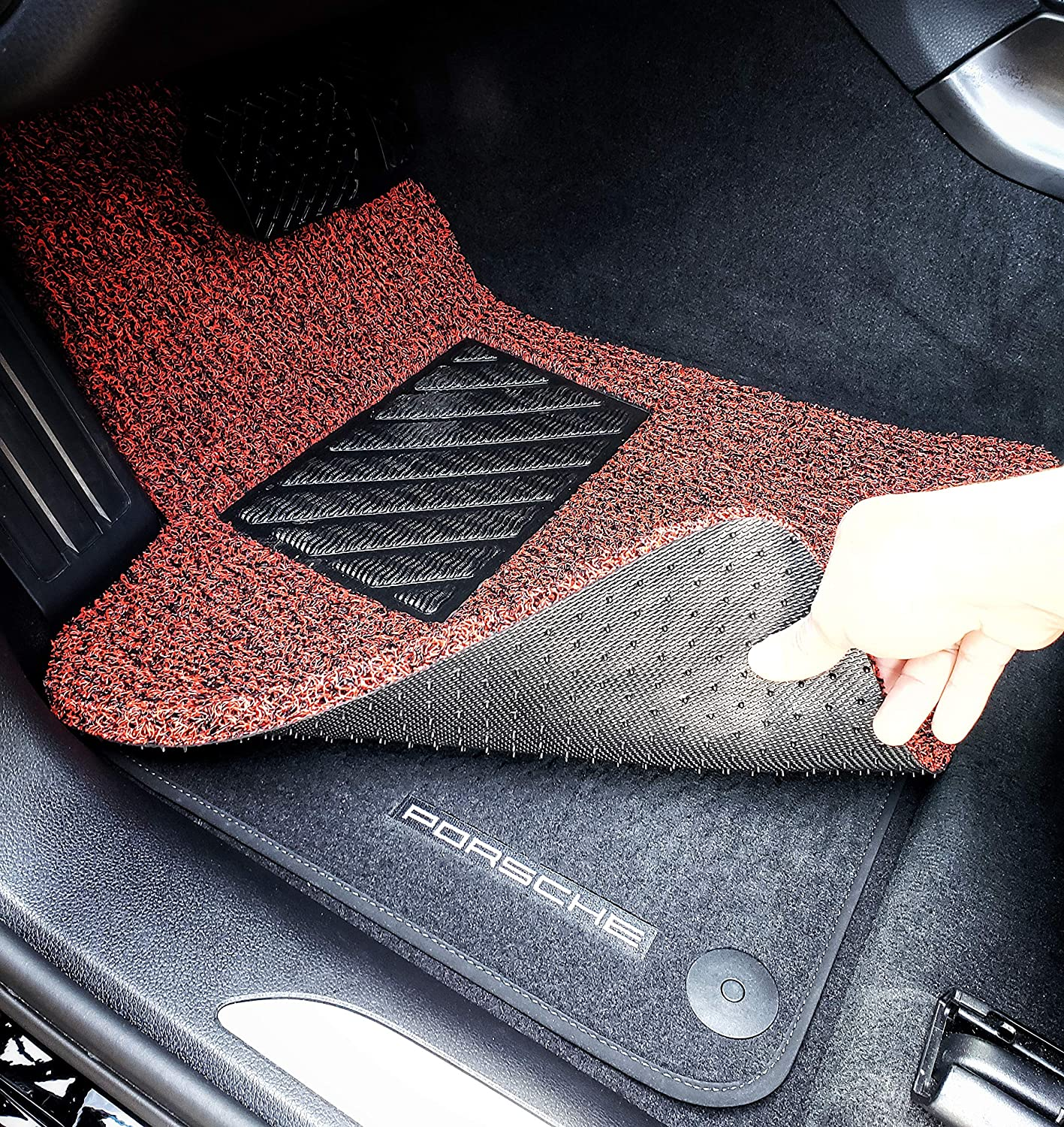 Autotech Zone Does NOT fit IS Sedan with RWD Red and Black All Weather Protector 4 pieces set floor mats Custom Fit Heavy Duty Custom Fit Car Floor Mat for 2014-2018 Lexus IS Sedan with All Wheel Drive Only