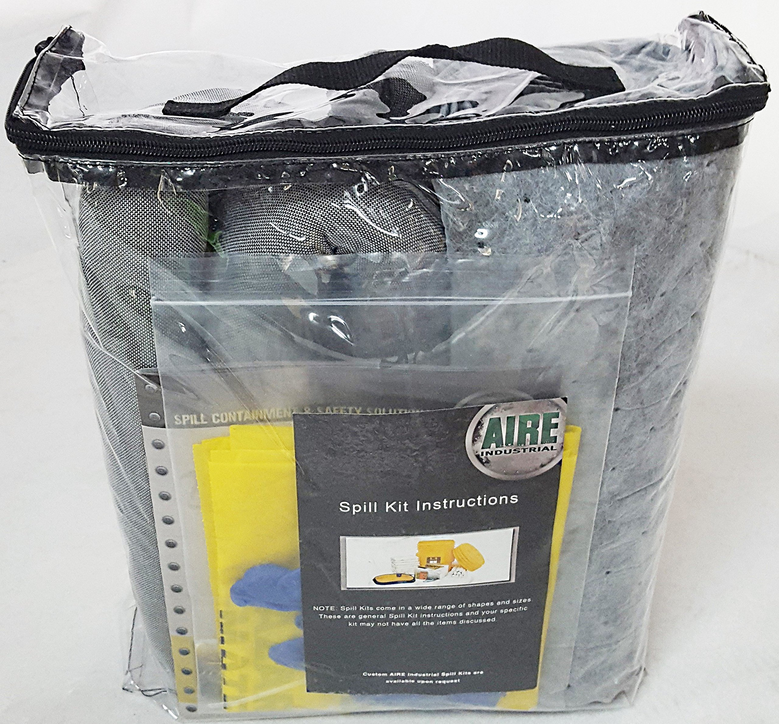 AIRE INDUSTRIAL 942-006456 Spill Kit Universal Economy Portable, 5 gal, Clear PVC