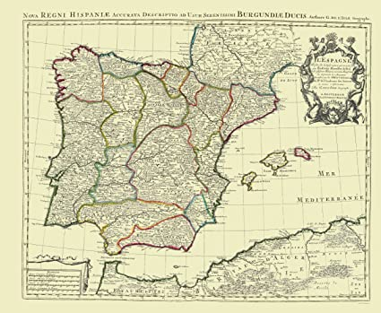 Amazon.com: Old Iberian Peninsula Map - Spain and Portugal - Covens ...