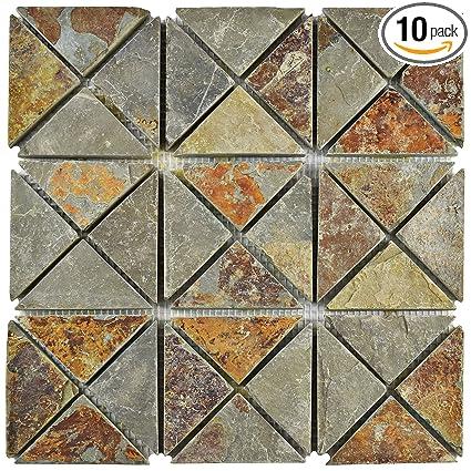Somertile Scrtsss Cliff Trisquare Sunset Slate Natural Stone Mosaic