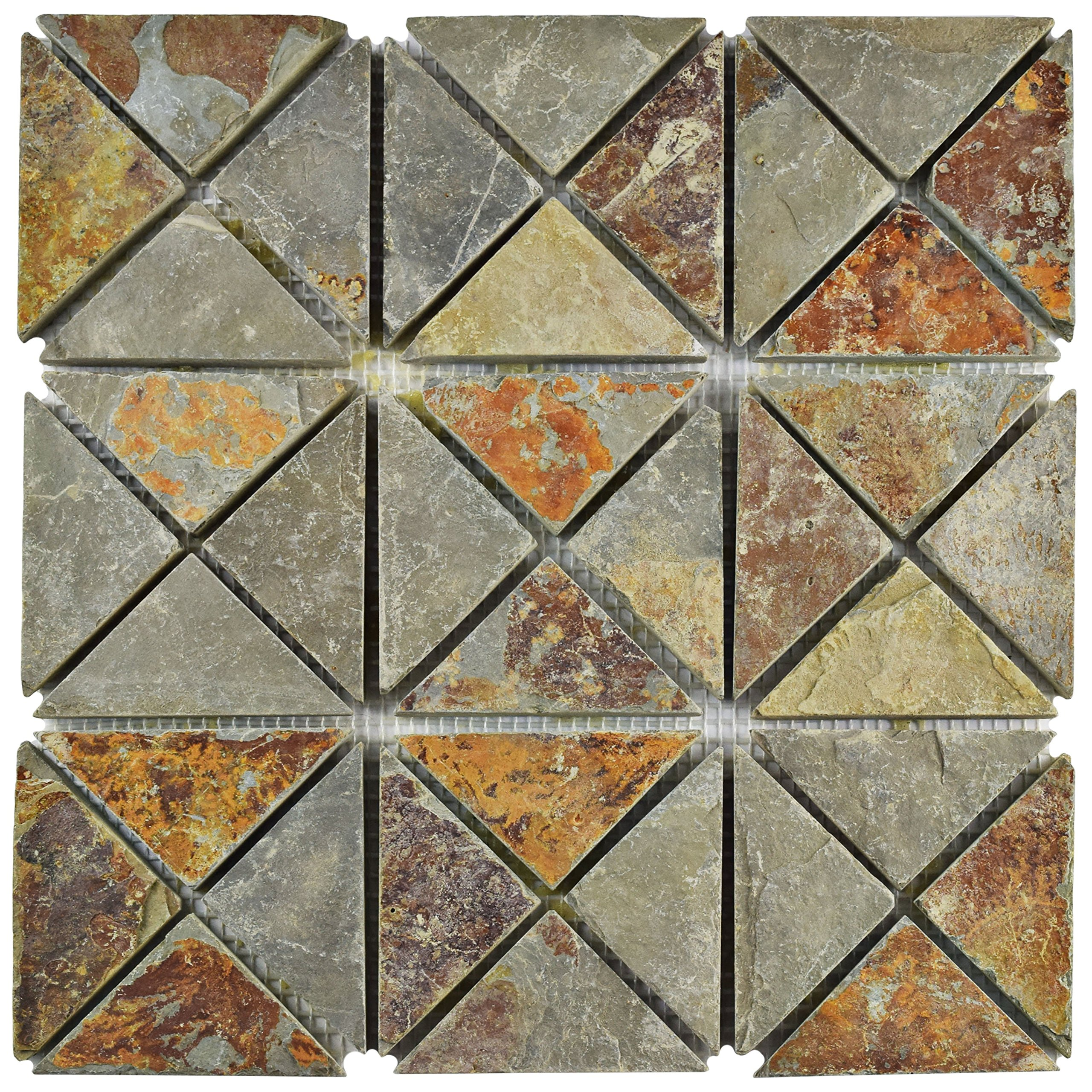 SomerTile SCRTSSS Cliff TriSquare Sunset Slate Natural Stone Mosaic Floor and Wall Tile, 12'' x 12'', Grey/Brown/Red/Orange/Green