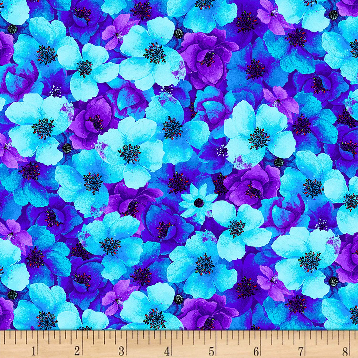Timeless Treasures Night Bloom Packed Floral Aqua Fabric by The Yard
