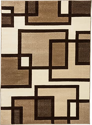 Well Woven Ruby Imagination Squares Cream Modern Area Rug 9 2 X 12 6
