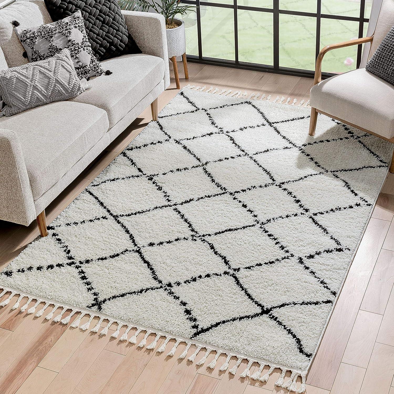Well Woven Panto Ivory Moroccan Shag Diamond Trellis Pattern Area Rug 5x7 (5'3