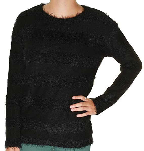 fc43af589d5128 Joseph A. Womens Pullover Eyelash Sweater Large Black Stripe at ...
