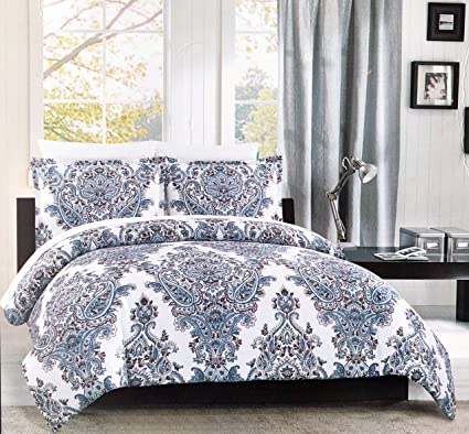 Cynthia Rowley Bedding 3 Piece King Size Duvet Comforter Cover Set Intricate Floral Paisley Medallion Pattern In Shades Of Blue And Red On White