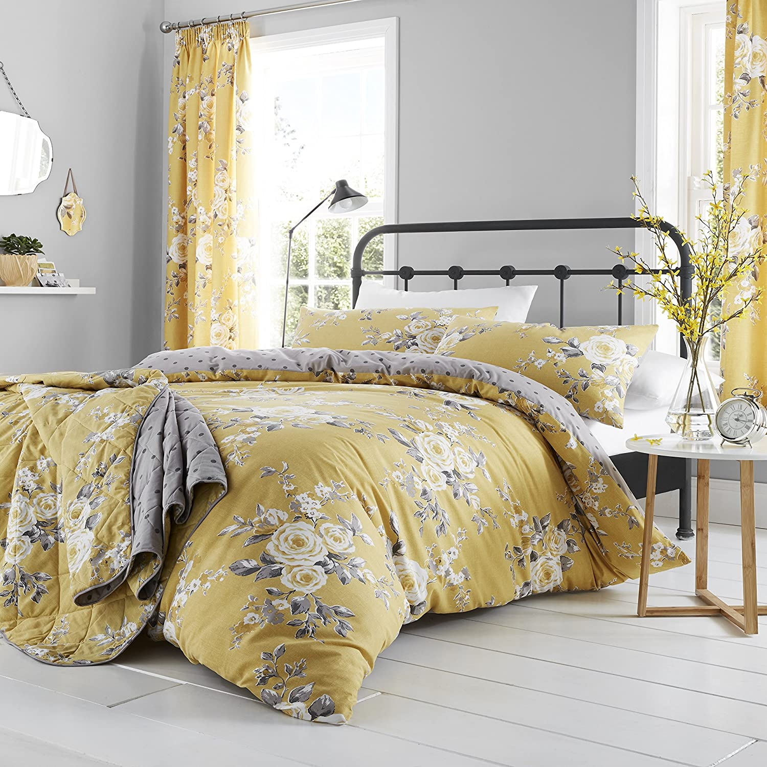 Catherine Lansfield Canterbury Housse de Couette, 100% Coton, Ochre, 220  x 240  + 80  x 80  (2) 220 x 240 + 80 x 80 (2) Bianca Europe