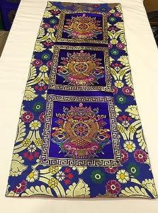 36 x 86 cm Tibetan Buddhist Blue Auspicious Symbol Silk Brocade Table Runner/Shrine Cover/Altar Cloth/Table Cover