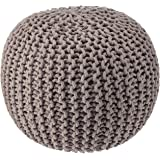 REDEARTH Round Pouf Foot Stool Bean Bag Ottoman - Knit Braided Cord Boho Pouffe Poof Accent Beanbag Chair Footrest for The Li