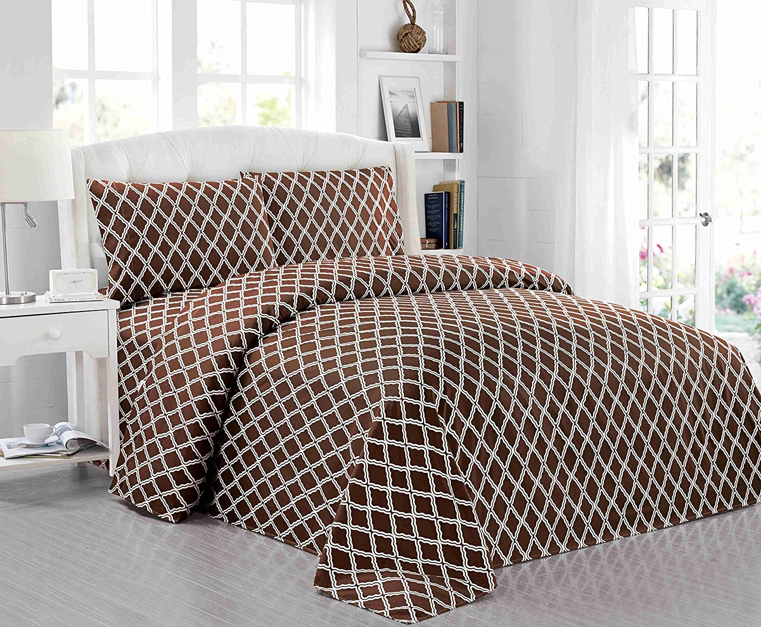 All American Collection New Microfiber 4 Piece Sheet Set Geometric Cone Design Printing Queen, Coffee