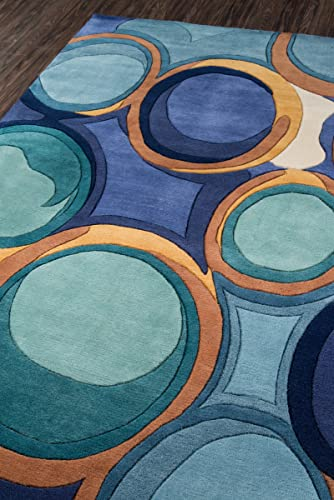 Momeni Rugs New Wave Collection, 100 Wool Hand Carved Tufted Contemporary Area Rug, 3 6 x 5 6 , Blue