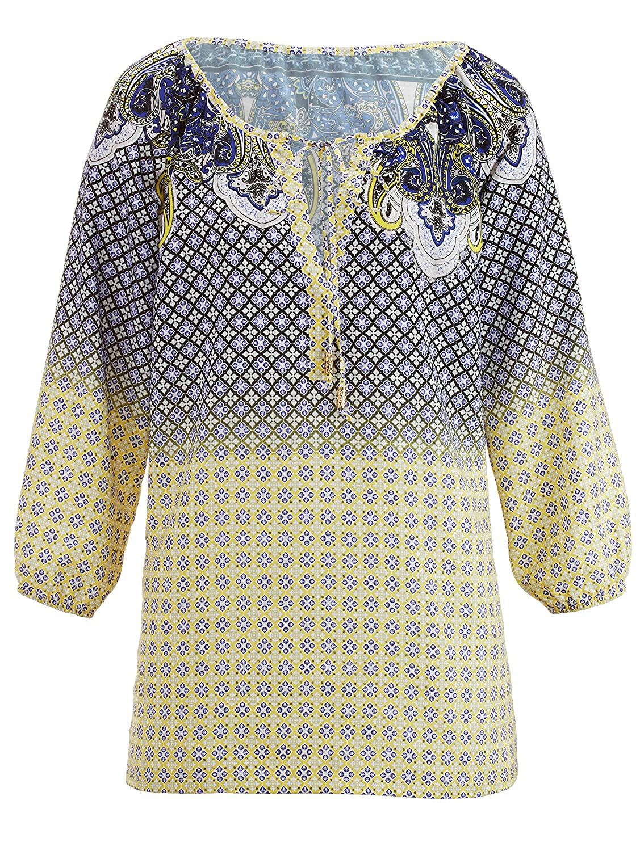 Amy Vermont Damen Bluse mit Ethno Print: : Bekleidung
