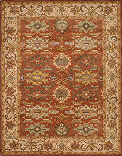 Safavieh Heritage Collection HG734D Handcrafted Traditional Oriental Rust and Beige Wool Area Rug 9'6″ x 13'6″
