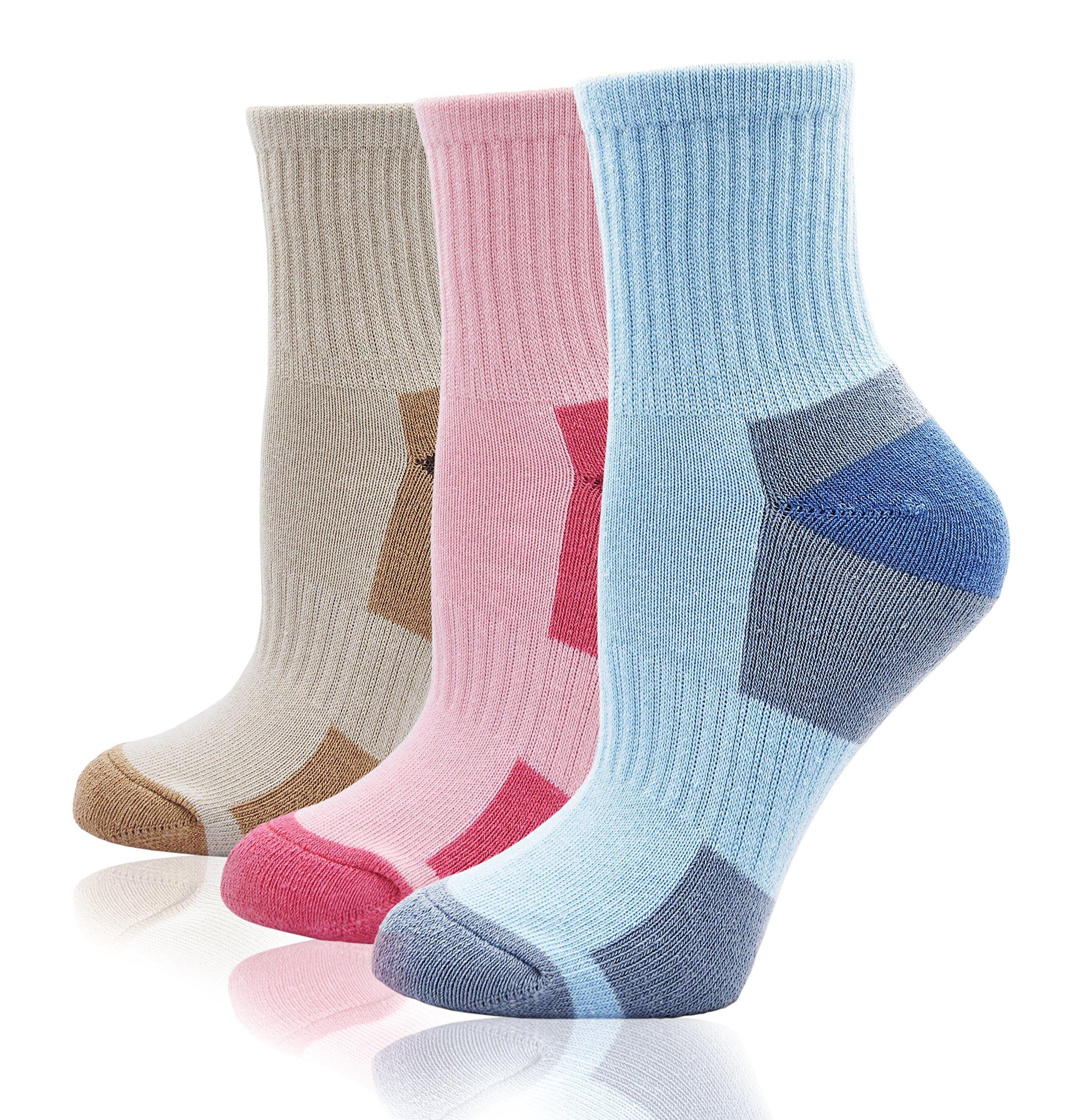 Women\'s Athletic Ankle Quarter Cushion Socks Thick Cotton Padded Mini Crew Socks for Hiking Trekking Tennis Running Fitness