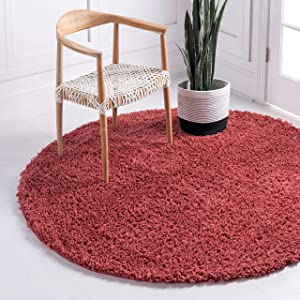 Unique Loom Davos Shag Collection Contemporary Soft Cozy Solid Shag Poppy Round Rug (5' 0 x 5' 0)