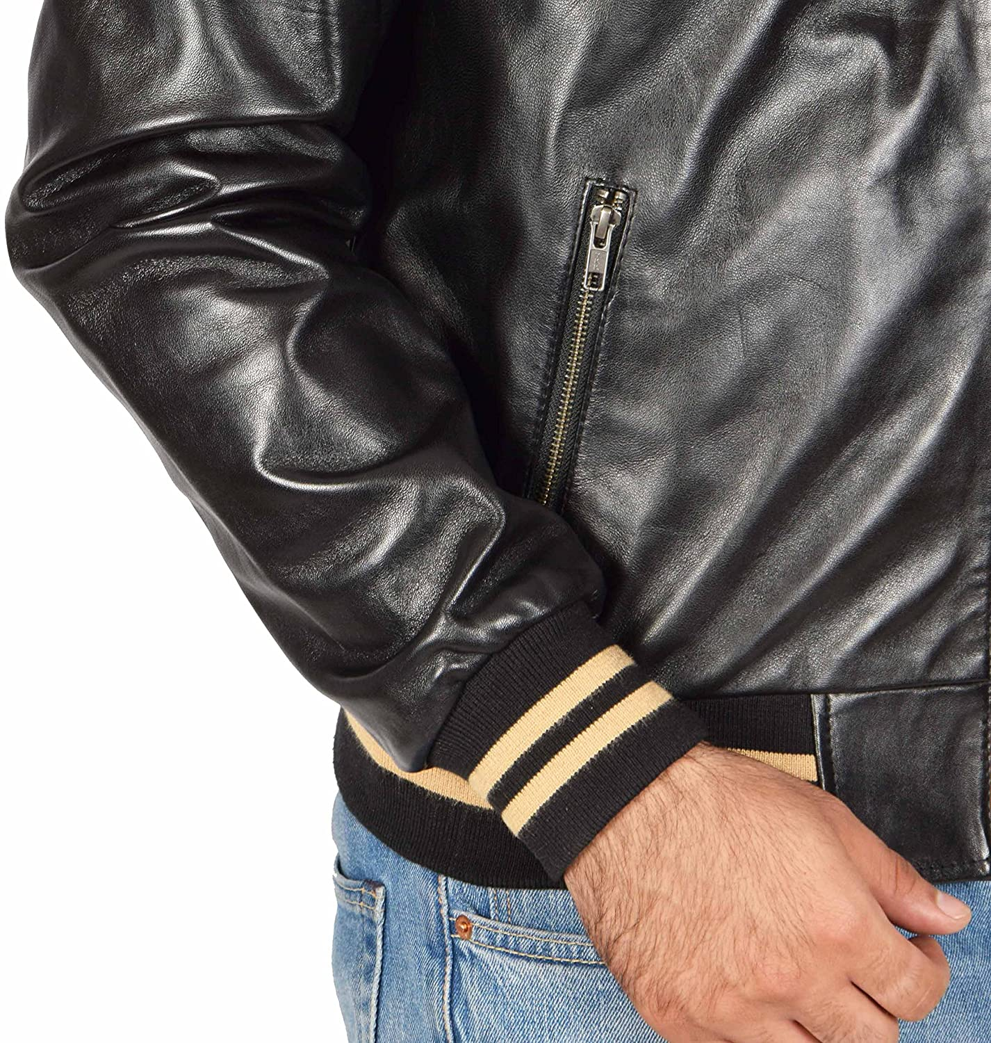 Mens Real Leather Hoodie Jacket Bomber Style Slim Fit Frank Black at Amazon Mens Clothing store: