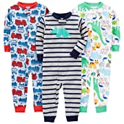 Simple Joys by Carter's Baby Boys' 3-Pack Snug Fit Footless Cotton Pajamas, Fire Truck/Dino/Animals Green/Green, 18 Months