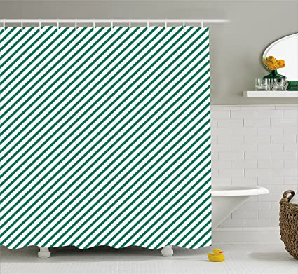 Ambesonne Green Shower Curtain Diagonally Striped Pattern Fresh Forest Colors Simple Contemporary Display Fabric