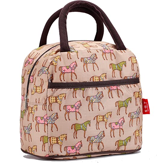 Animal Horse Print Insulated Lunch Tote Cooler Box Food Storage Bag Picnic Bags