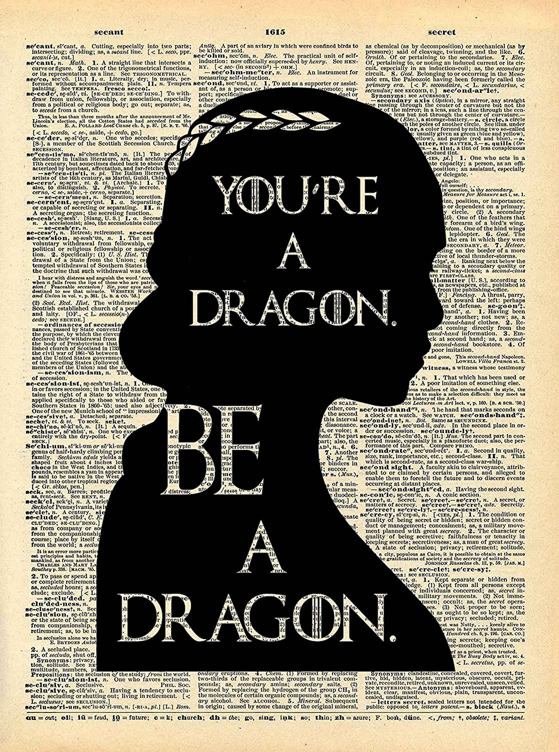Khaleesi Dragon Quote Game of Thrones Art Vintage Dictionary Print 8x10 inch Home Vintage Art Abstract Prints Wall Art for Home Decor Wall Decorations Office Ready-to-Frame Dragon