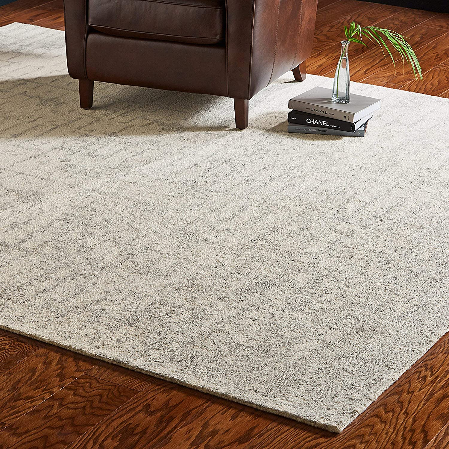 Rivet Contemporary Linear Distressed Wool Rug, 8