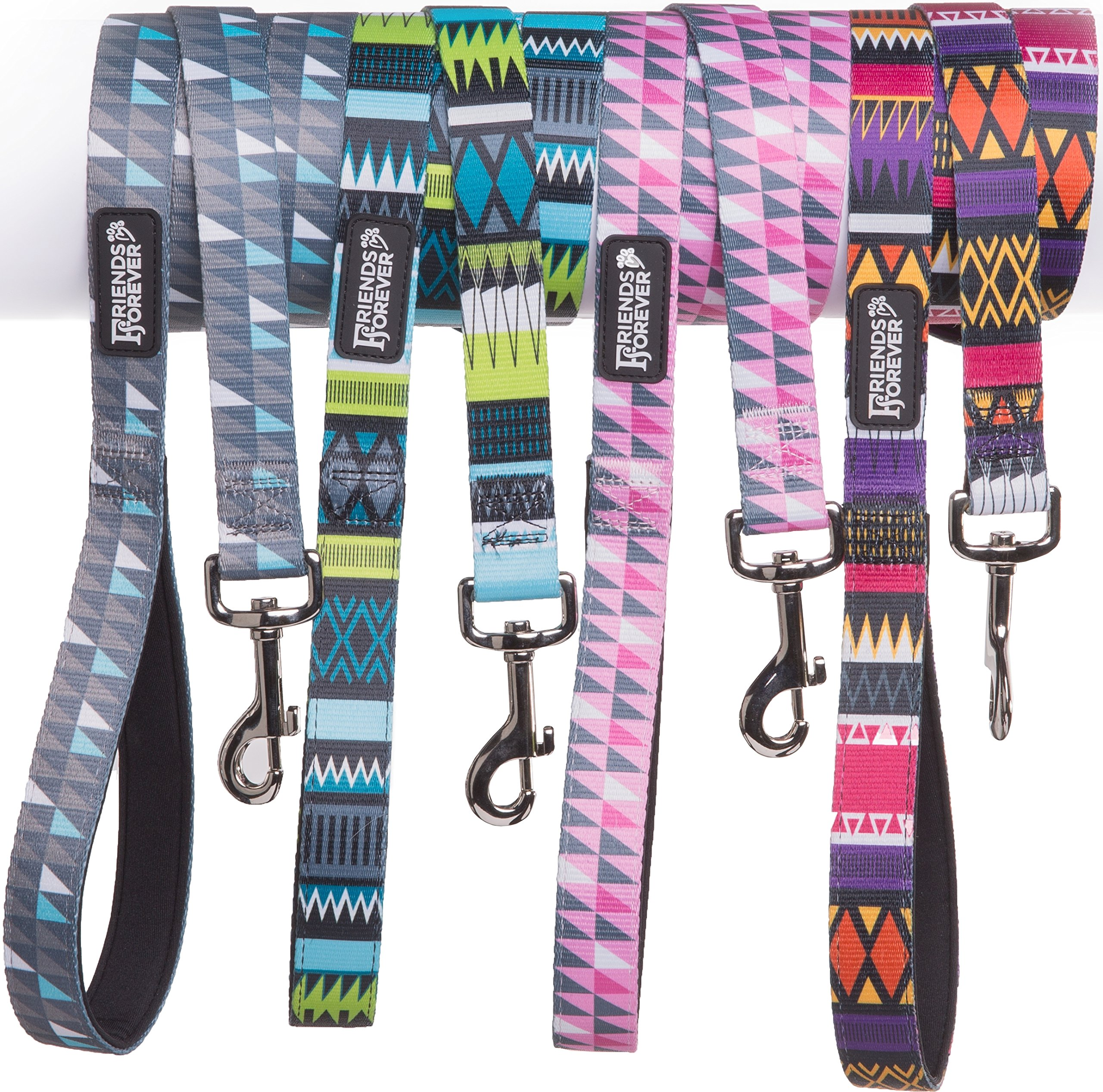 Friends Forever Durable Nylon Dog Leashes for Small Dogs to Large Dogs, Pattern Cat Leashes for Walking - Puppy Leash 5 Feet Long for Dogs & Cats, Tribal Teal