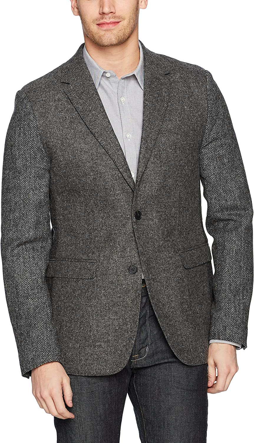 French Connection Men's Patchwork Wool