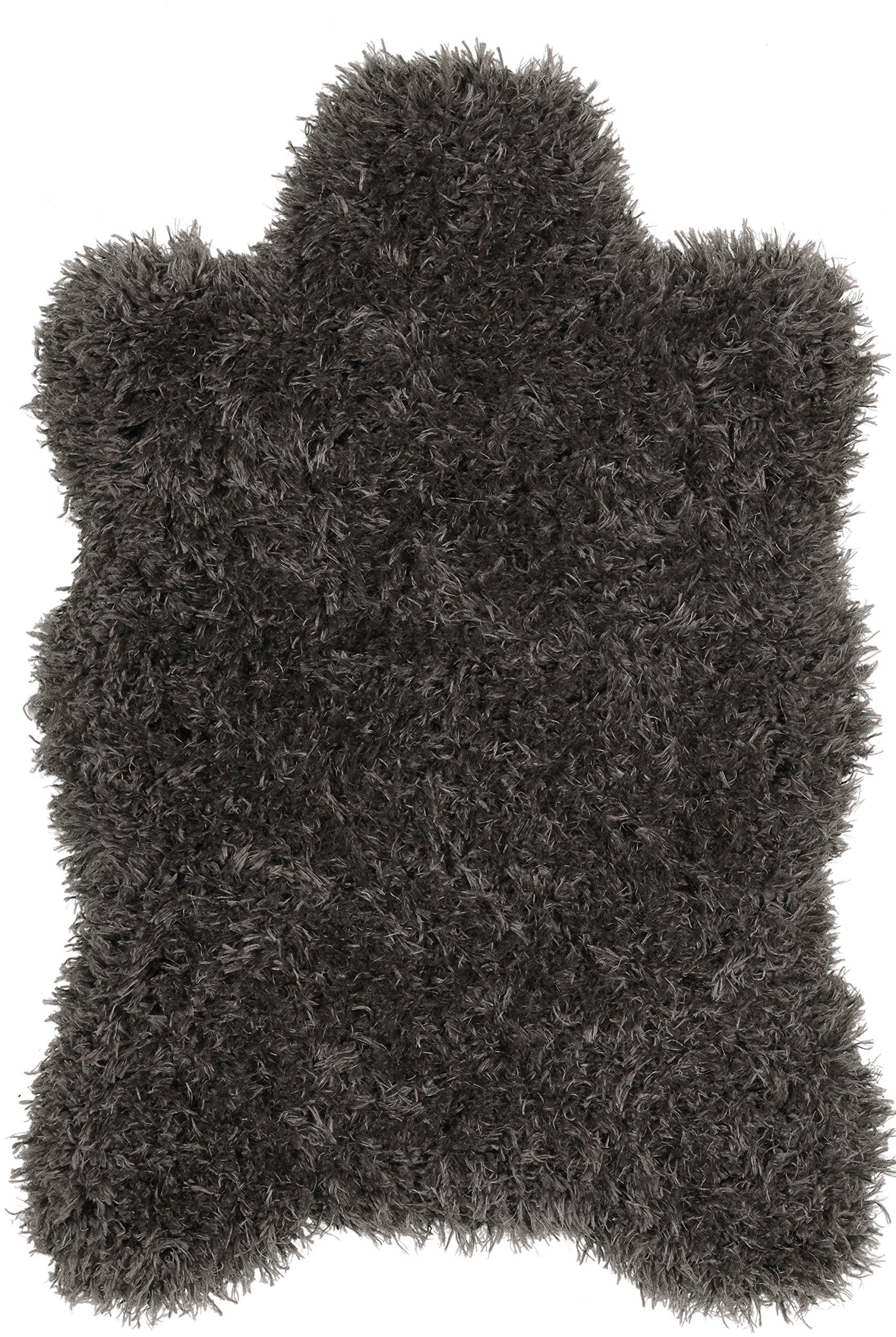 Ottomanson Flokati Collection Faux Sheepskin Lambskin Design Shag Rug, 2'X3'3, Dark Grey